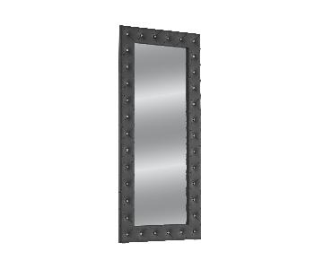 Silver Orchid Porten Black Crystal Tufted Floor Mirror