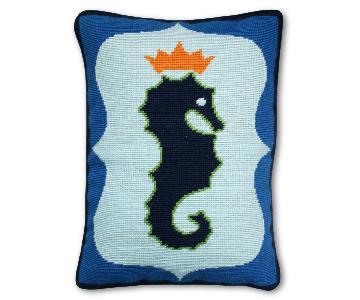 Jonathan Adler Needlepoint Seahorse Pillows