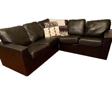 Home Reserve Tux Black Faux Leather 2-Piece Sectional Sofa