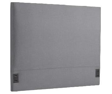 West Elm Simple Upholstered Headboard in Shelter Blue