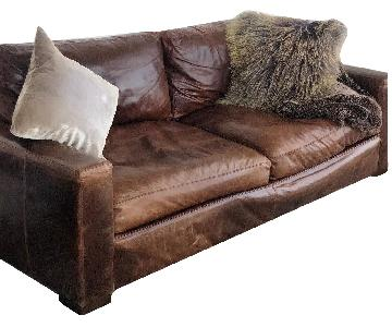Restoration Hardware Maxwell Brown Leather Sofa