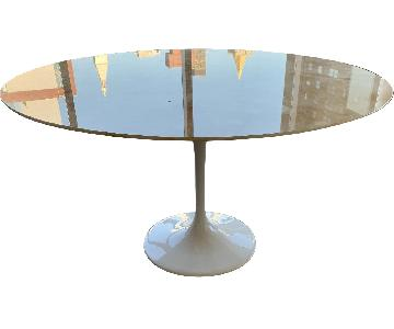Stone International Onyx Top Saarinen Table w/ White Base