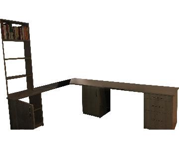 Closet Factory L-Shape Desk w/ Cabients & Bookcase