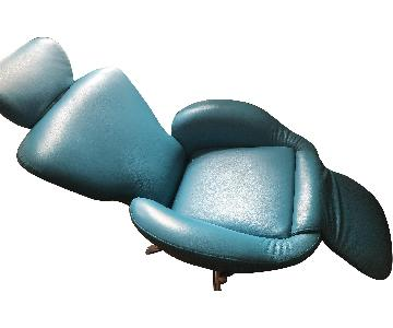 Cassina Dodo Recliner Chair in Ocean Blue Leather