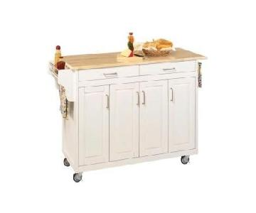 Home Styles Kitchen Cart w/ Storage w/ Wood Finish Top