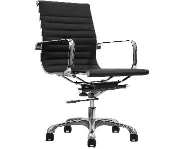 Ribbed Modern Eames Replica Office Chair in Black