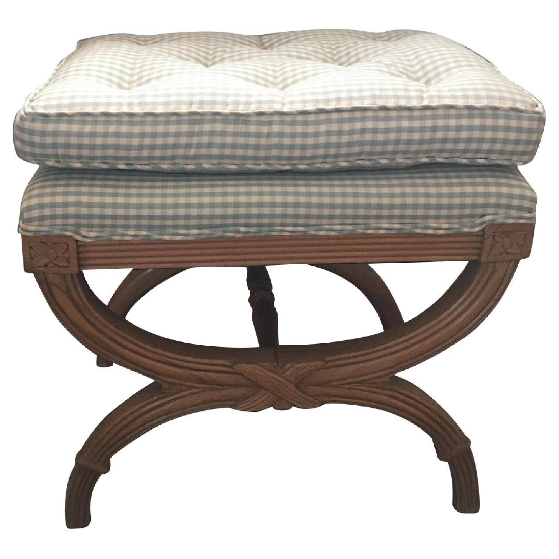 Calico Corner Fabric Upholstered Wood Bench
