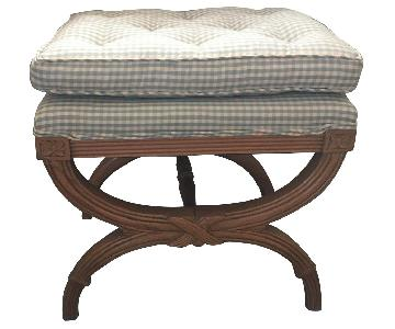 Calico Corner Fabric Upholstered Wood Bench