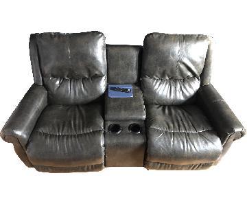 La-Z-Boy Custom Leather Recliner Sofa w/ Light Up Cup Holder
