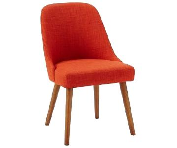 West Elm Mid-Century Heathered Weave Cayenne Dining Chairs
