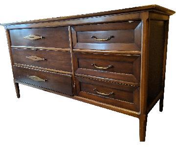 Vintage Solid Wood 6-Drawer Dresser w/ Brass Finishes
