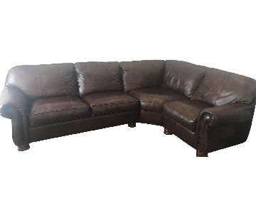 Thomasville Benjamin Chocolate Brown Leather Sectional Sofa