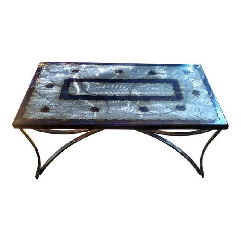 Frank Seckler Southwestern Motif Steel Coffee Table