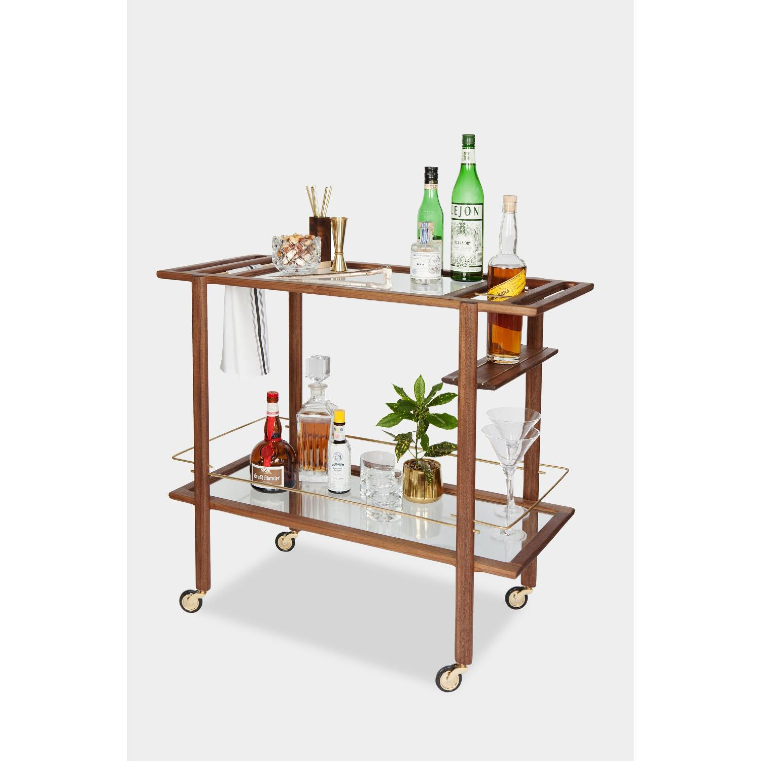 Chris Earl Walnut & Brass Bar Cart-0