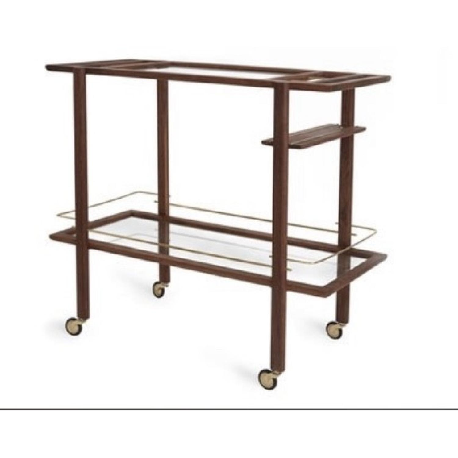 Chris Earl Walnut & Brass Bar Cart-1