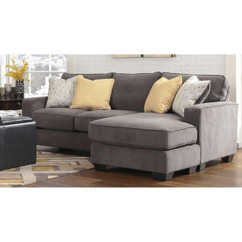 Jennifer Convertibles Hodan Dark Grey Sectional Sofa - AptDeco