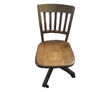 Vintage Solid Oak Swivel Adjustable Desk Chair