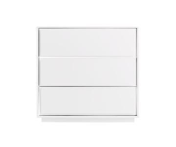 CB2 White Lacquer 3 Drawer Dresser