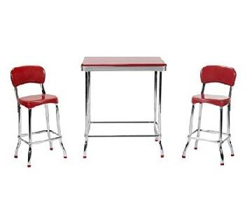 Cosco Stylaire Retro Red Chrome High Top 3-Piece Dining Set