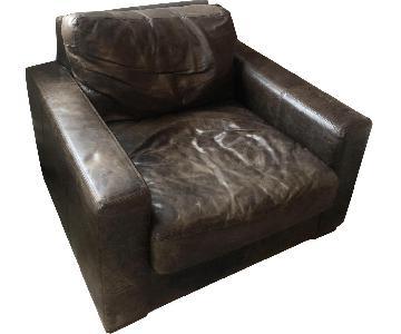 Restoration Hardware Vintage Brown Leather Chair