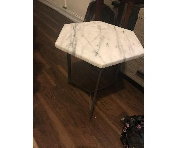 West Elm Marble Hex Side Table