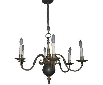 Vintage Aged Solid Brass 6-Arm Chandelier