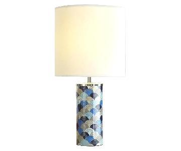 Jonathan Adler Blue Geometric Table Lamps