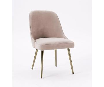 West Elm Mid-Century Upholstered Dining Chairs in Dusty Pink
