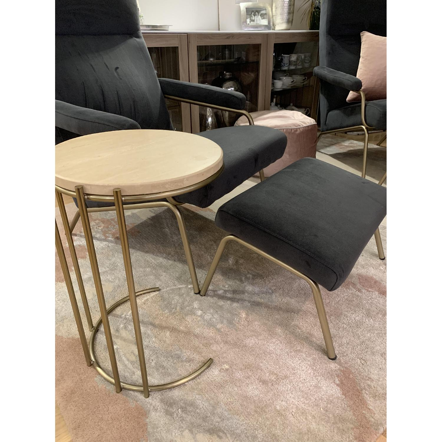 West Elm Marble Side Table w/ Metal Base