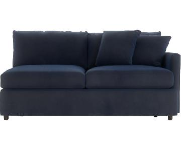 Crate & Barrel Lounge II Right Arm Sofa in Cobalt Blue