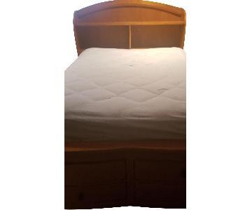 Twin Size Captain's Bed w/ 2 Storage Drawers & Headboard