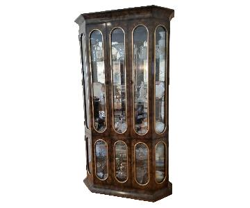 Vintage Mastercraft Amboyna Burl Wood China Cabinet
