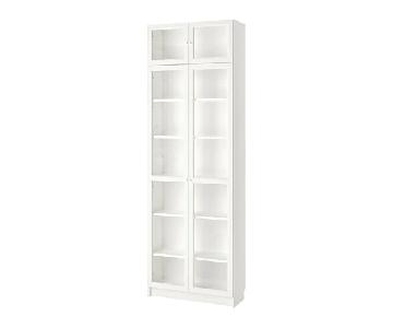 Ikea Billy/Oxberg White Bookcase w/ Glass Doors
