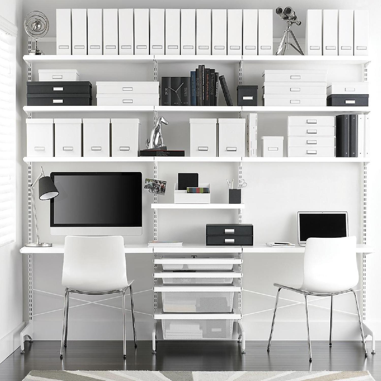 Elfa Freestanding Desk w/ Shelves & Storage Boxes-0