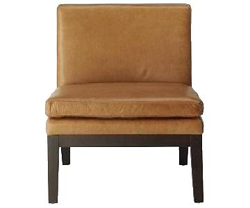 West Elm Camel Leather Slipper Chair