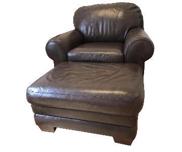 La-Z-Boy Brown Leather Armchair & Ottoman