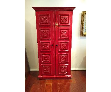 Vintage Red Laquer Chinoiserie 70's Armoire