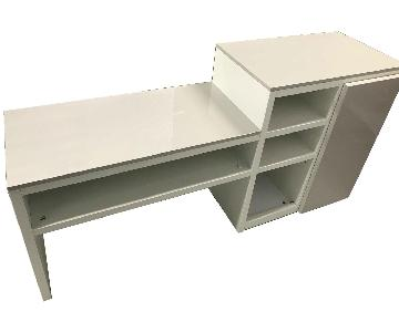 White Storage Console Table