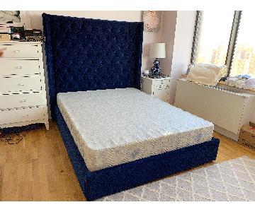 Restoration Hardware Adler Shelter Tufted Fabric Queen Bed