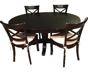 Crate & Barrel Black Avalon Extendable Table w/ 4 Chairs
