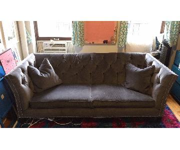 Ethan Allen Shelton Grey Velvet Sofa