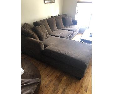 Raymour & Flanigan Brown Fabric Sectional Sofa w/ Chaise