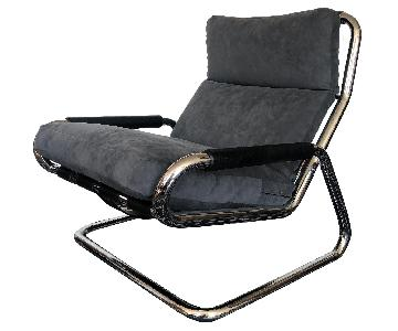 Chrome Upholstered Armchairs