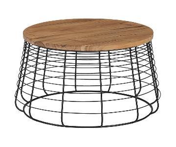 CB2 Spoke Acacia Wood Round Table