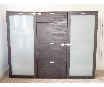 Arte M Dresser w/ 2 Frosted Glass Doors in Black Brown