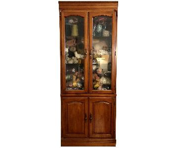Solid Wooden Glass Door Cabinet