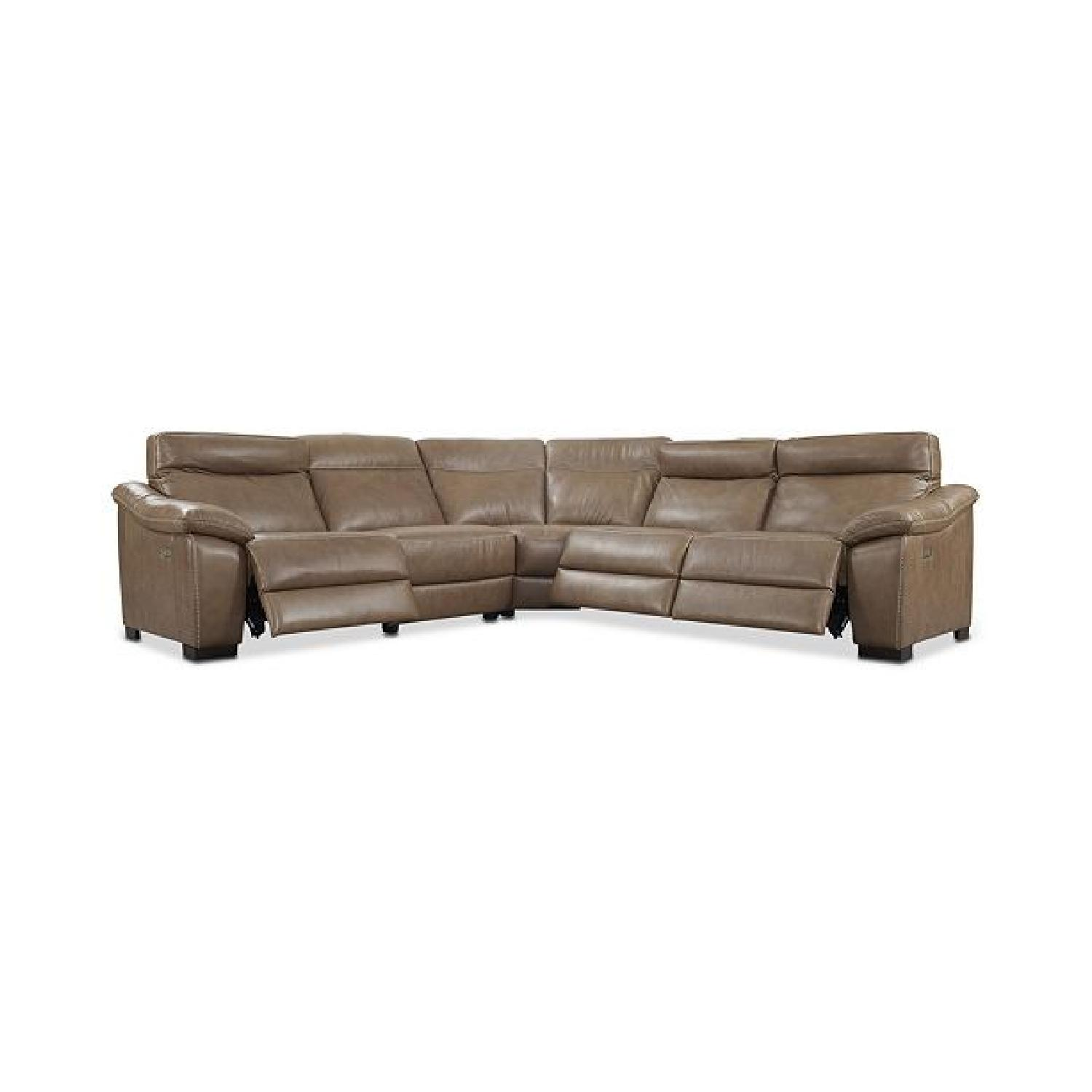 Macy's Leather Sectional Sofa w/ 3 Power Recliners