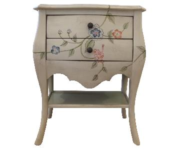 Distressed Style Floral 2 Drawer Side Table