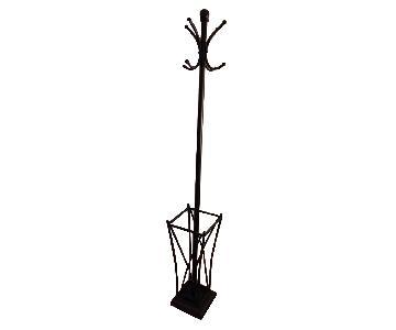 Black Metal Hall Tree w/ Umbrella Stand