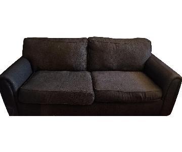 Raymour & Flanigan Grey Herringbone Sofa